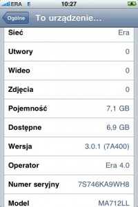 Firmware iPhone OS 3.0.1 na iPhone pierwszej generacji