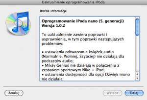 iPod nano 5G firmware oprogramowanie 1.0.2
