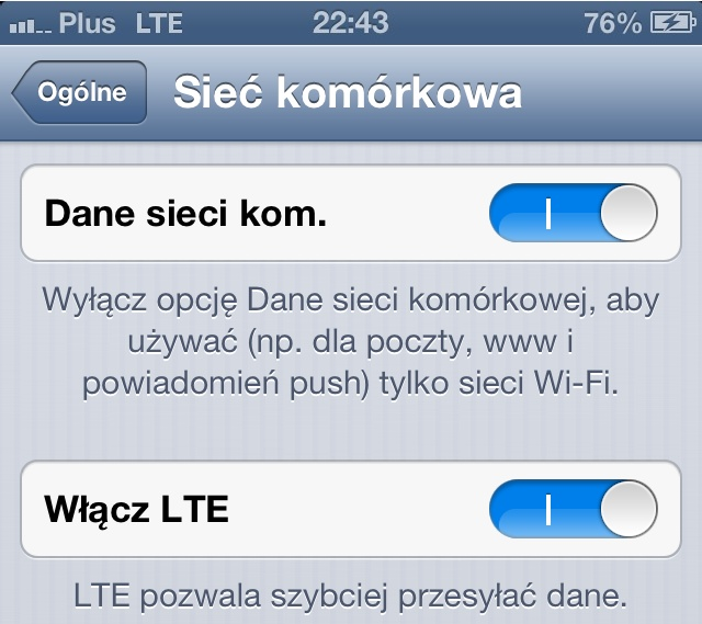LTE w Plus - iPhone 5